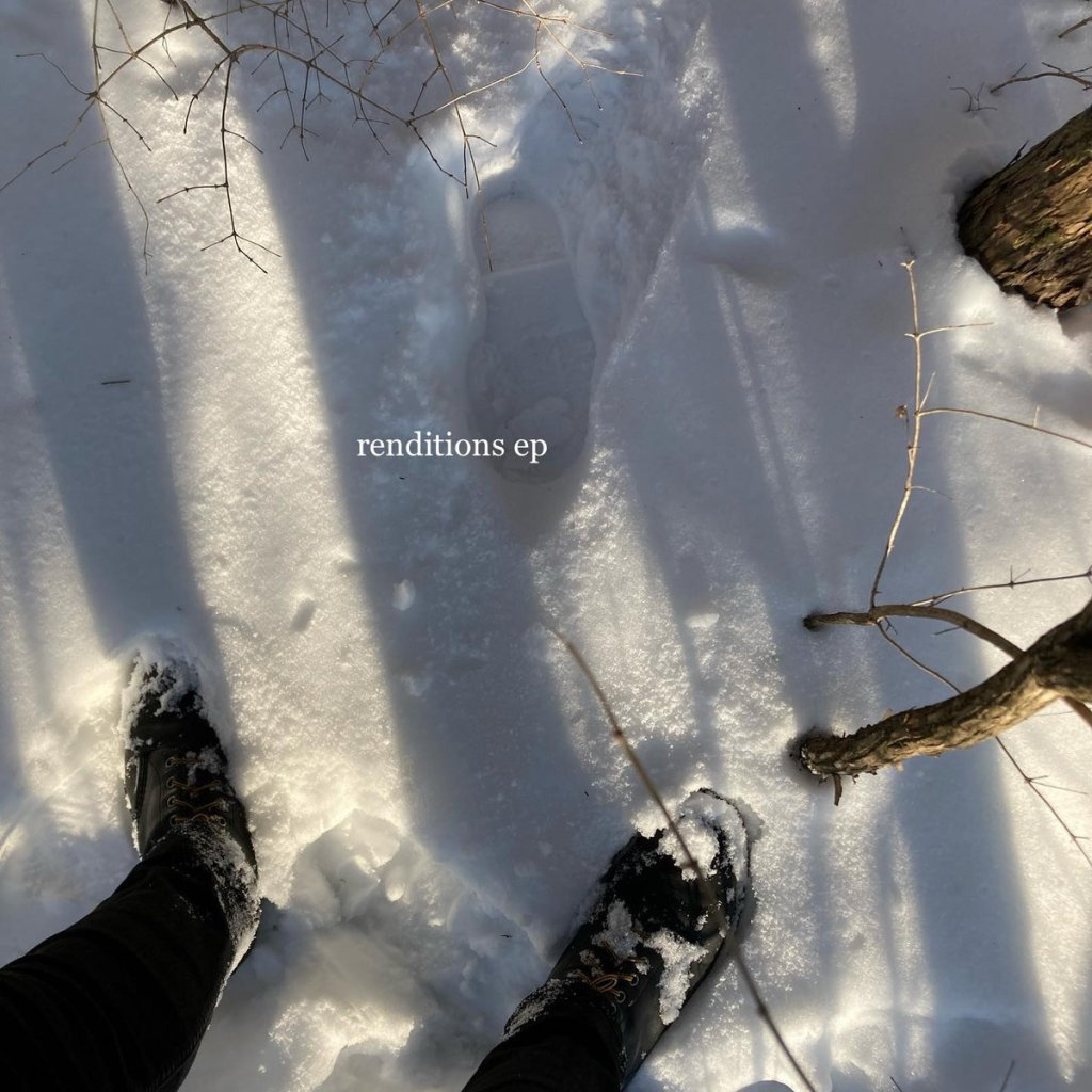 Album cover for Christopher Moor's Renditions EP. Features a downwards shot of the snowy ground with the feet (in boots) of a person standing there. Some branches are coming out of the snow.